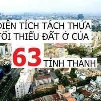 DIỆN TÍCH TÁCH THỬA TỐI THIỂU ĐỐI VỚI ĐẤT Ở CỦA 63 TỈNH, THÀNH – luật sư đất đai giỏi